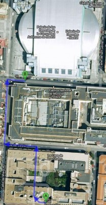 The meetup will be held in A whereas the venue is B, 300 metres away from the meetup place (Hotel Convención)