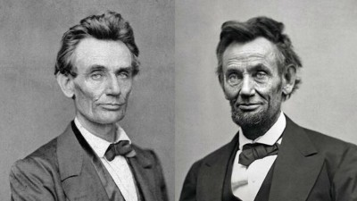 Lincoln in 1860 & 1865