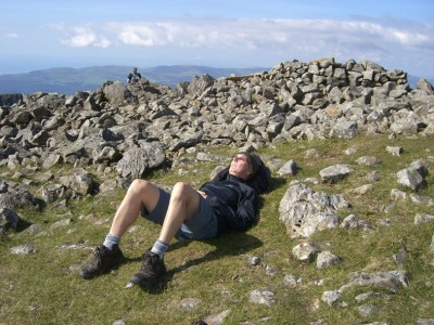 John fast asleep on top of Cadair Idris, Linda told me later that John can sleep anywhere at the drop of a hat